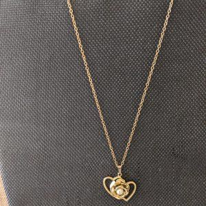 Gold Necklace with Heart, Flower, & Pearl Pendant